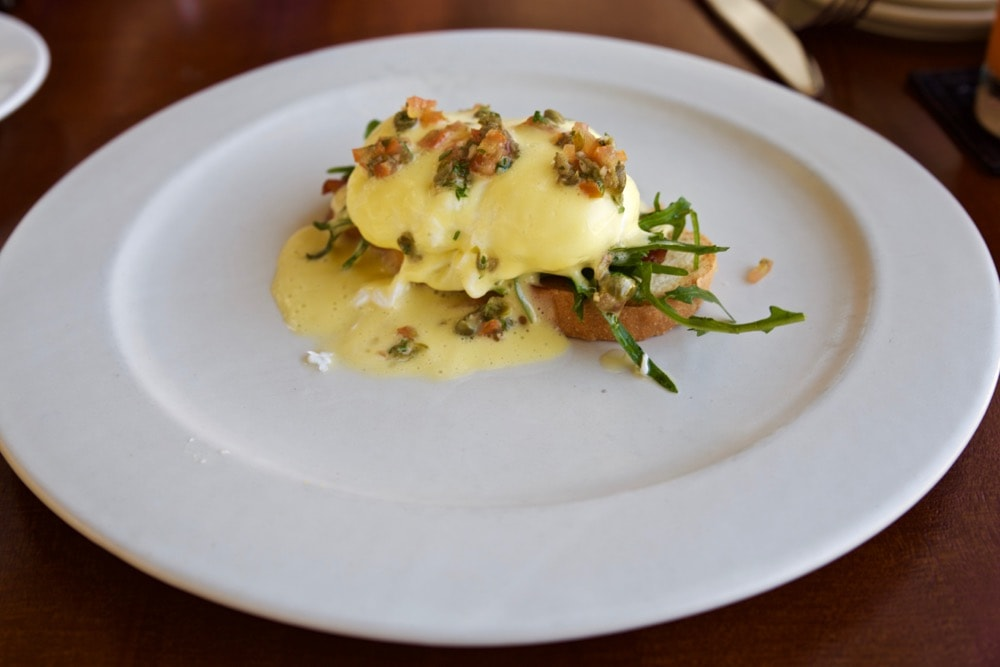 The Bale Benedict for breakfast at The Bale, Nusa Dua, Bali