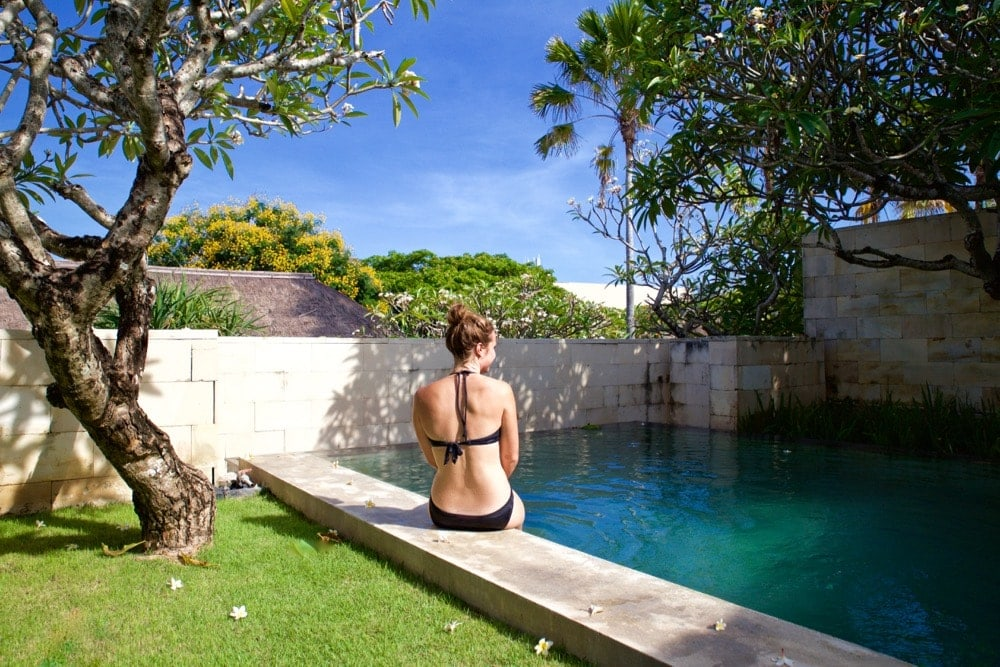 Enjoying our private pool at The Bale, Nusa Dua, Bali