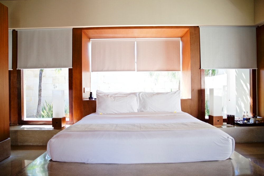 Bedroom in our single pavillion at The Bale, Nusa Dua, Bali