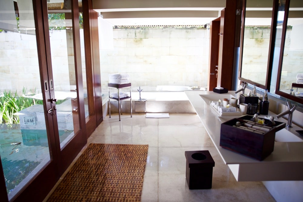 Bathroom in our single pavillion at The Bale, Nusa Dua, Bali