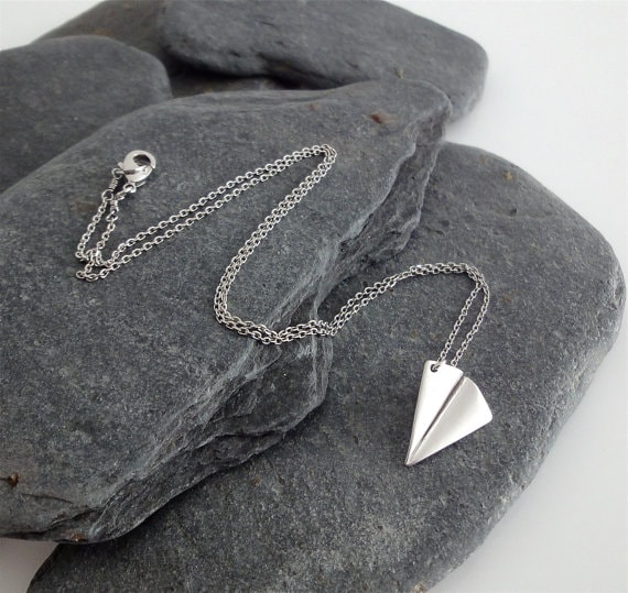 Silver Paper Airplane Necklace (PollyAJewellery)