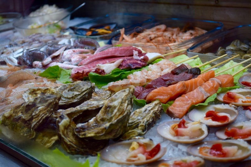 Fish and seafood on display at Mercado Central de Atarazanas, Malaga, Spain