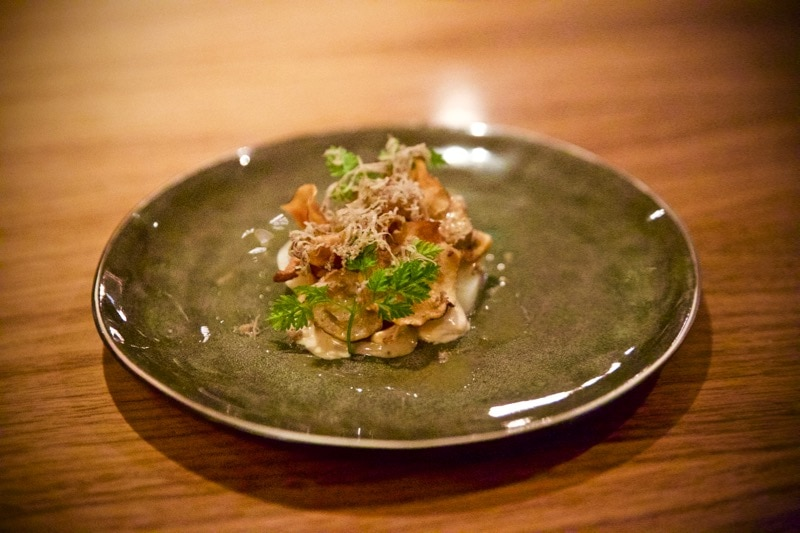 Pickled and roasted Jerusalem artichokes came with a truffle jel, toasted hazelnuts, shavings of black autumn truffle and chervil at The Artichoke, Amersham