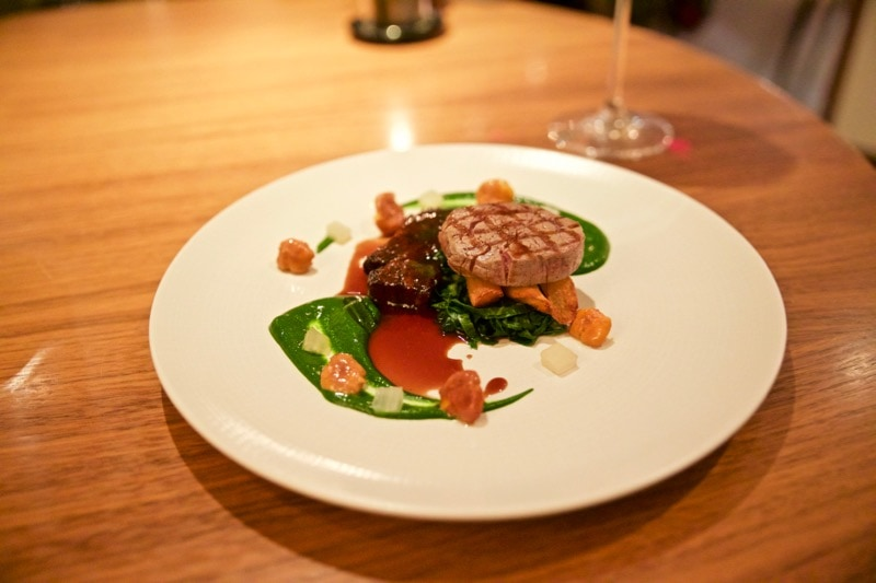 Dry aged Angus beef fillet with Perthshire short rib, beef dripping salsify, chard, girolles and a parsley purée at The Artichoke, Amersham