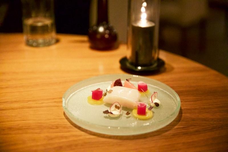 Smoked haddock with radishes, beetroot and horseradish cream at The Artichoke, Amersham