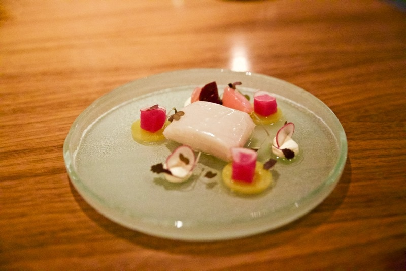 Smoked haddock with radishes, beetroot and horseradish cream at The Artichoke, Amersham