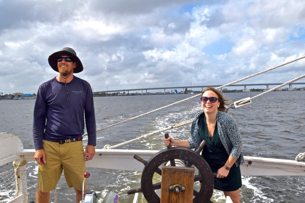 On board Schooner Lily in Stuart, Florida