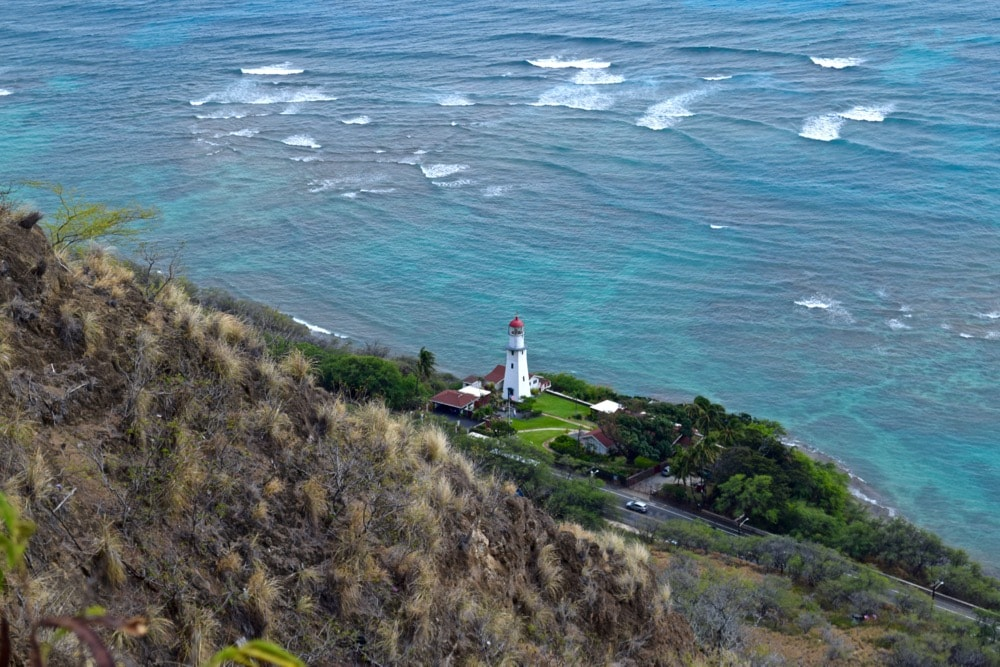 View of the lighthouse from Diamond Head Trail, Hawaii