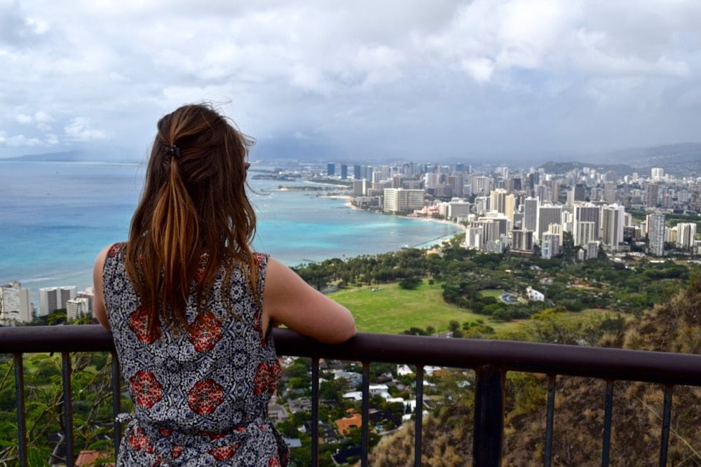 Enjoying the view from Diamond Head Trail, Hawaii