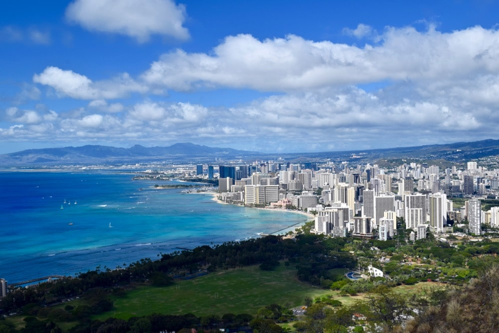 View of Honolulu from Diamond Head Trail, Hawaii