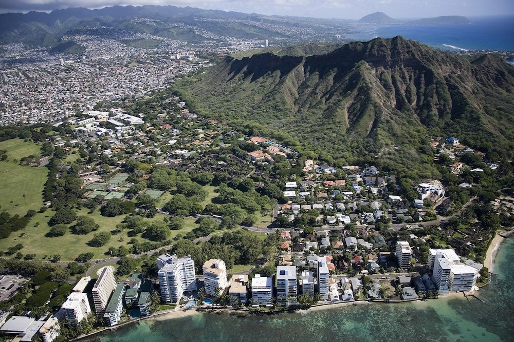 Aerial view of Diamond Head and Waikiki Beach. Hawaii