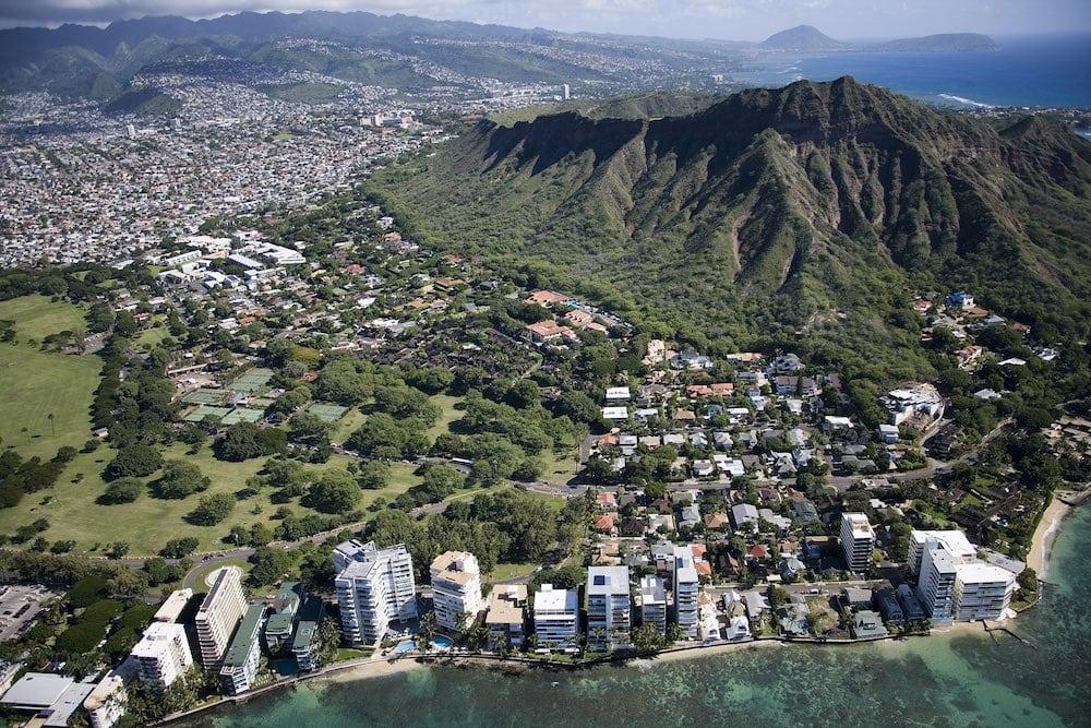 Aerial view of Diamond Head and Waikiki Beach. Hawaii