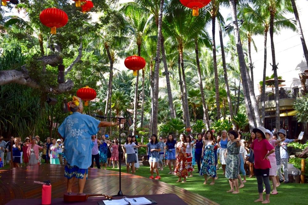 Hula practice in Hawaii