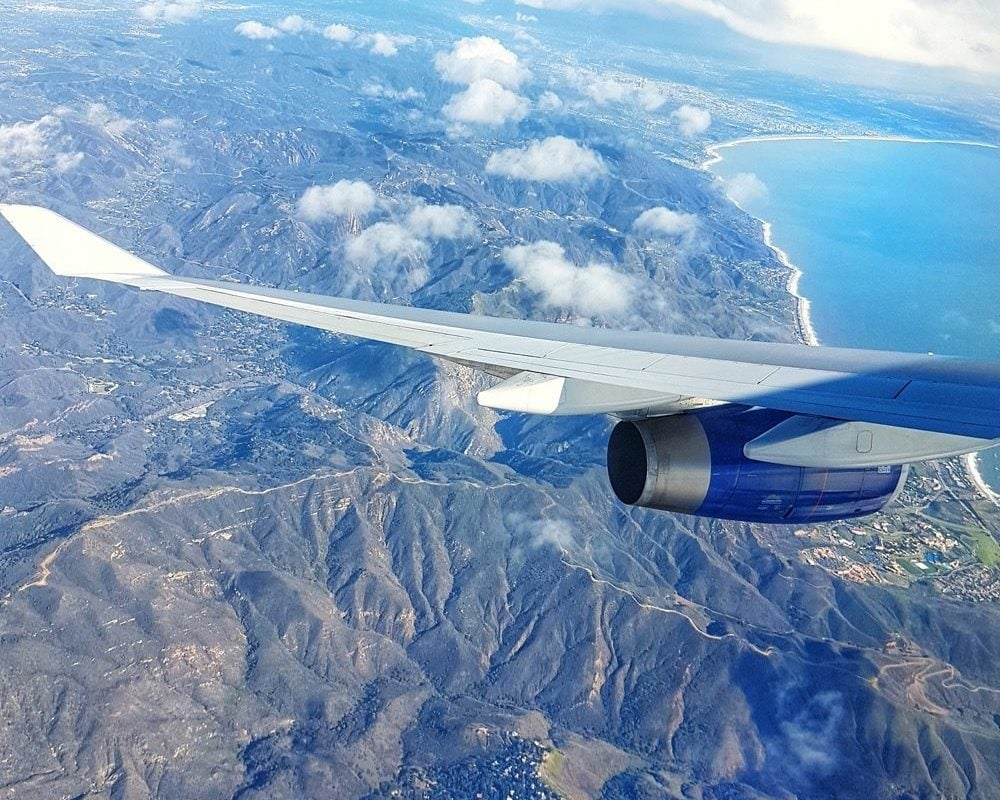 Plane window view