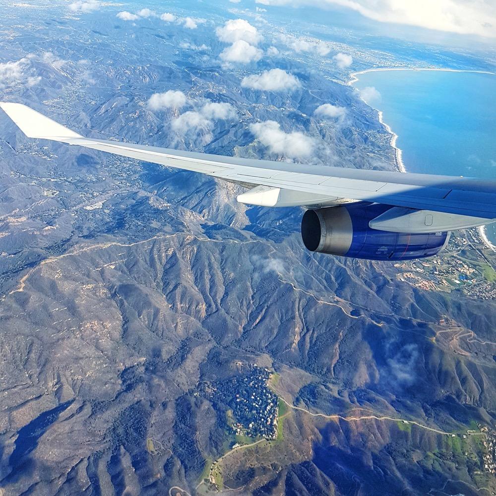 Plane window view