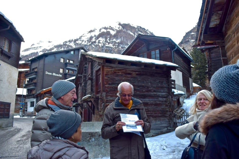 Exploring the old village in Zermatt, Switzerland