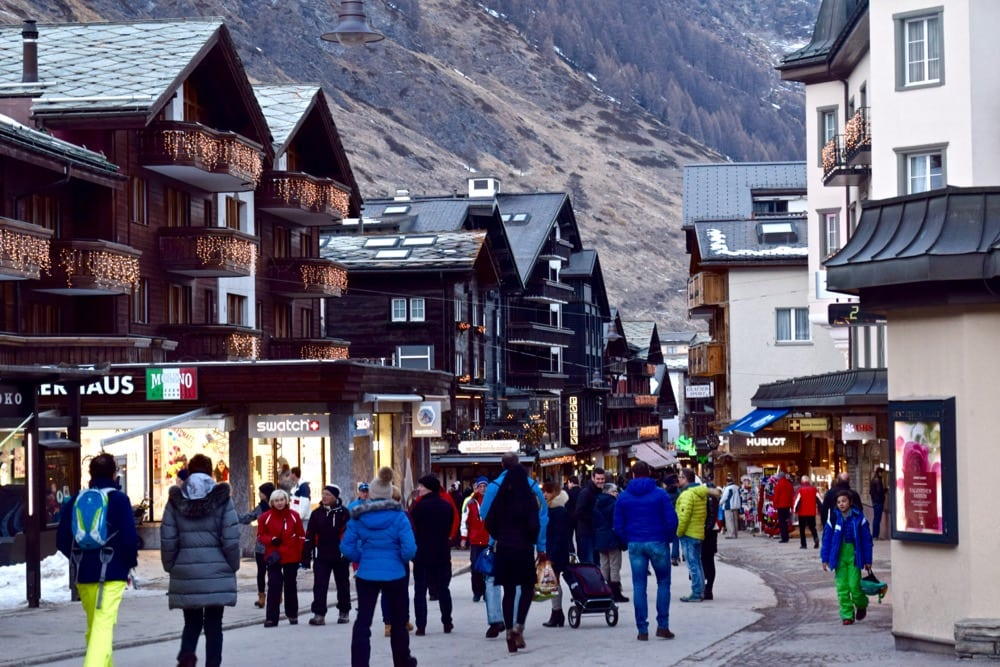 Zermatt's busy main street in winter, Switzerland