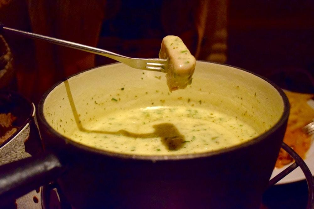 Tasty herb fondue in Zermatt, Switzerland