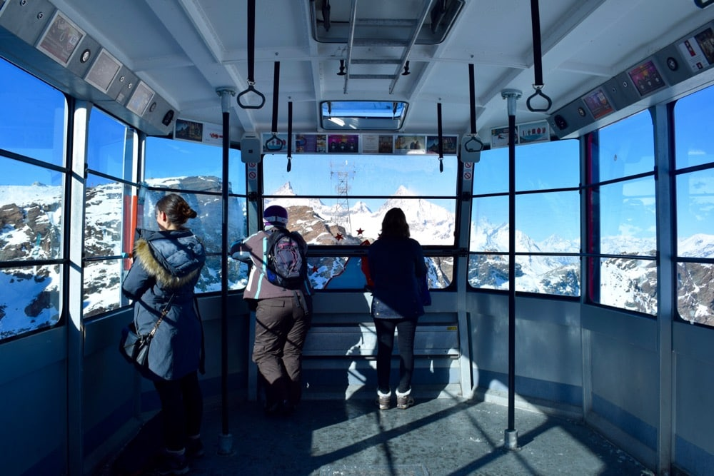 Panoramic views from the cable car at Matterhorn Glacier Paradise, Zermatt, Switzerland