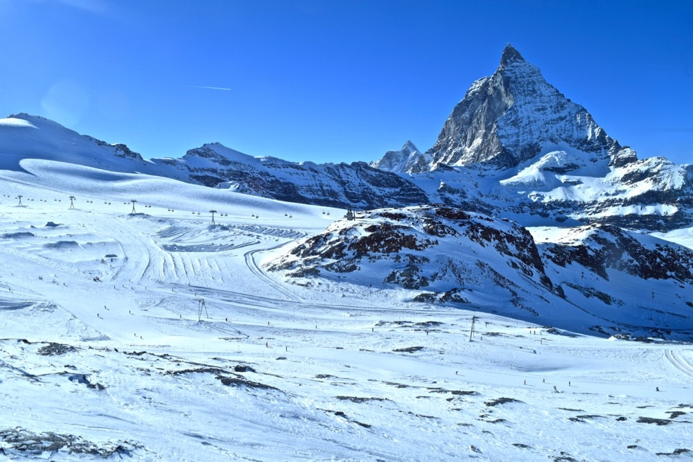 Skiers in front of the Matterhorn, Zermatt, Switzerland