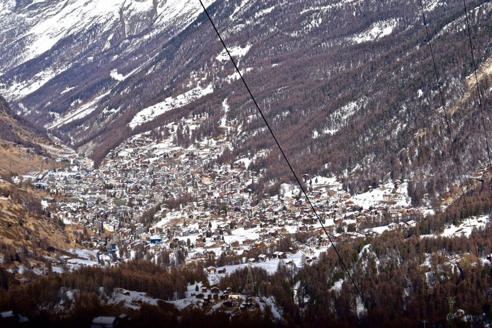 View of Zermatt from the cable car