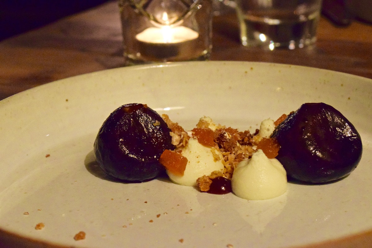 BBQ'ed figs and goats cheese at Hawkyns Restaurant, Amersham