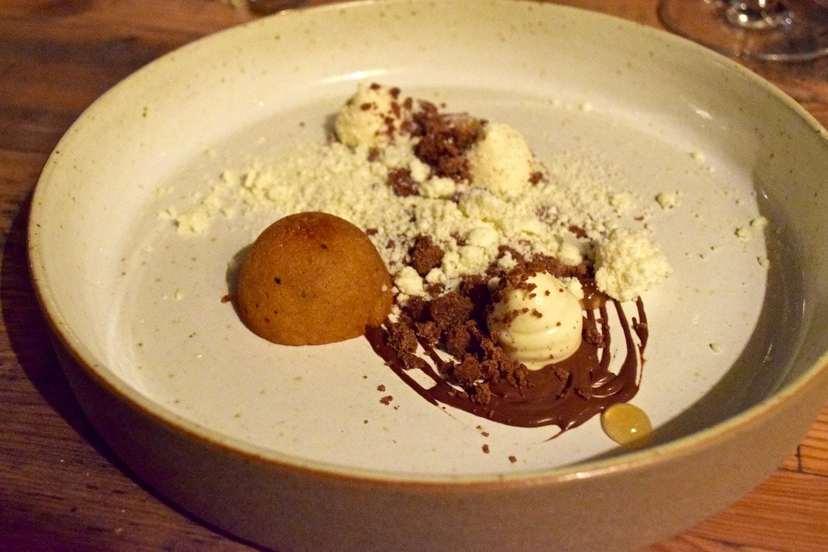 Coffee and almond dessert at Hawkyns Restaurant, Amersham