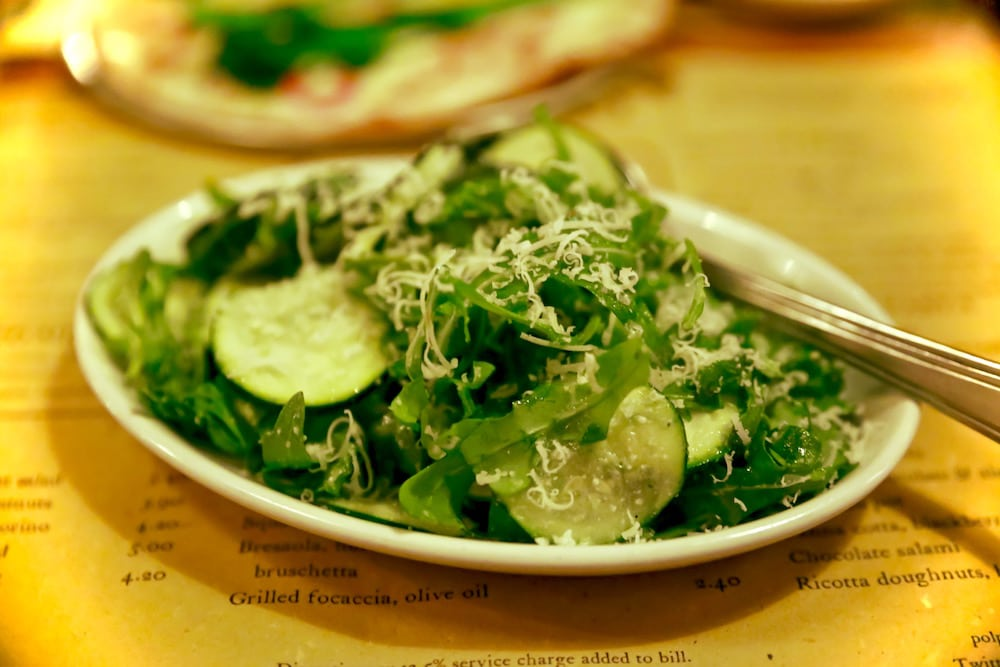 Zucchini, basil and parmesan salad at Polpo, Notting Hill