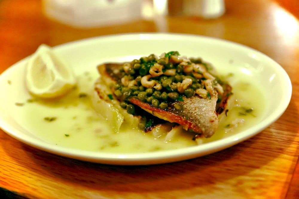 Sea bream with fennel, capers and brown shrimp at Polpo, Notting Hill