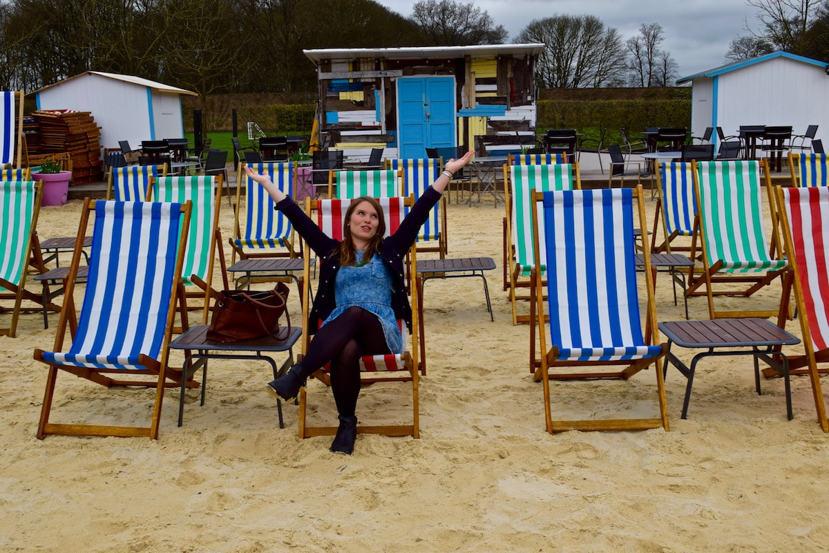 Waiting for sunshine on the beach at The Grove, Hertfordshire