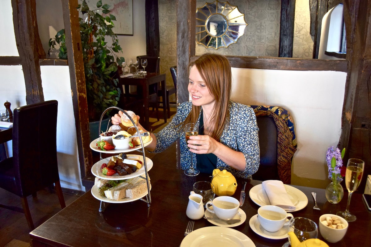 Enjoying afternoon tea at The Kings Arms Hotel, Amersham