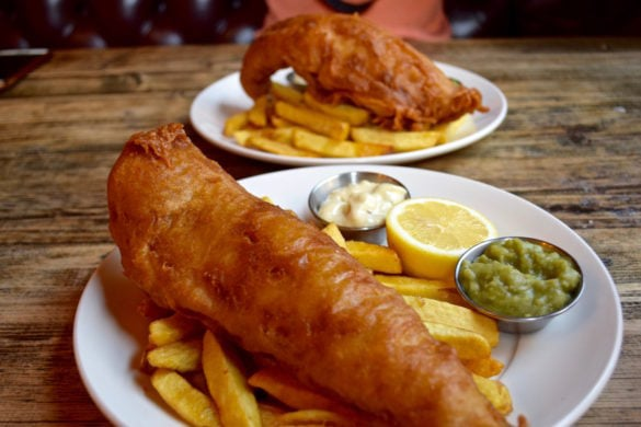 Fish and chips at The Holly Bush Pub, Hampstead