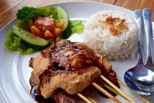 Famous chicken satay at Mama's Warung, Ubud, Bali