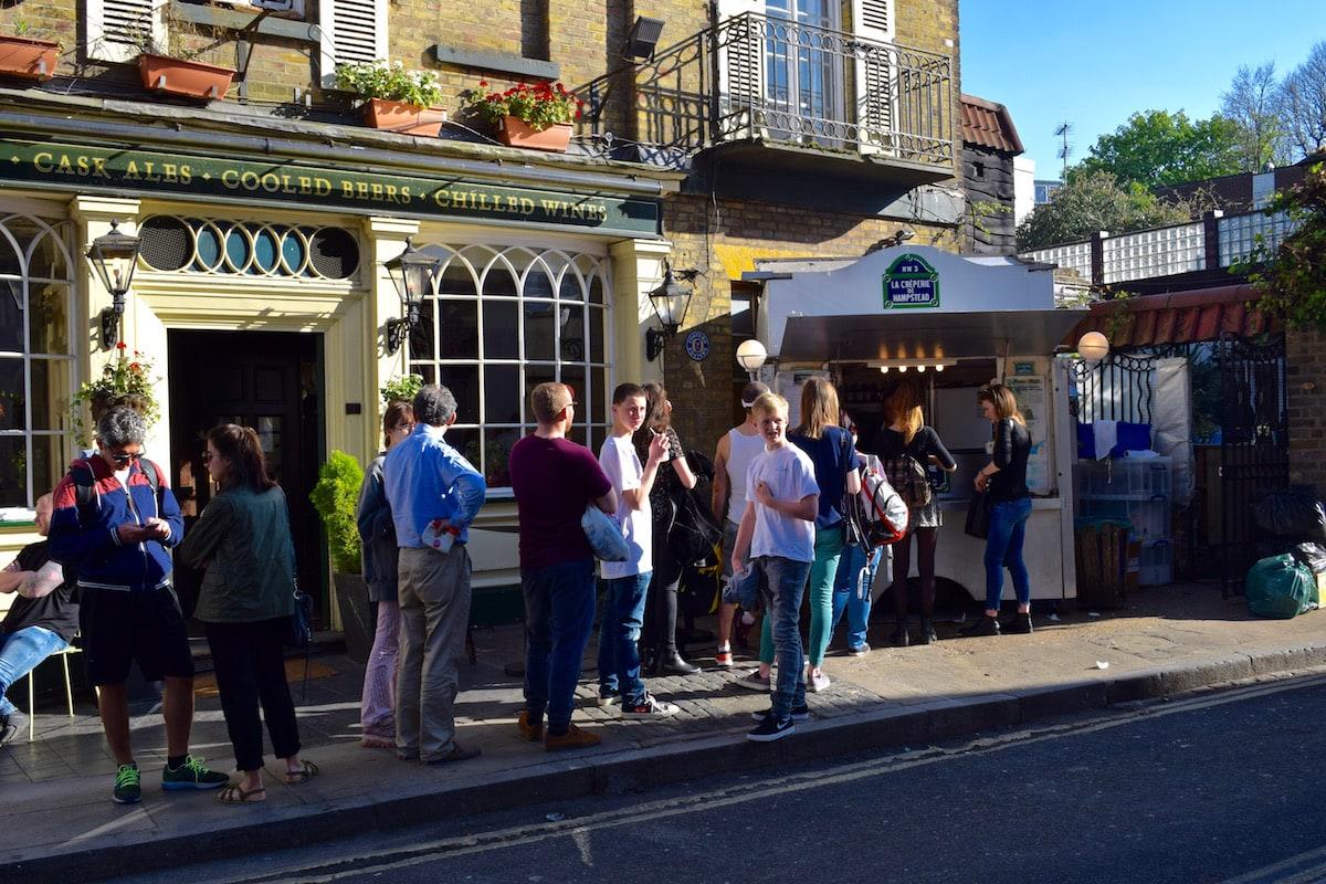 Weekend queues at La Creperie de Hampstead