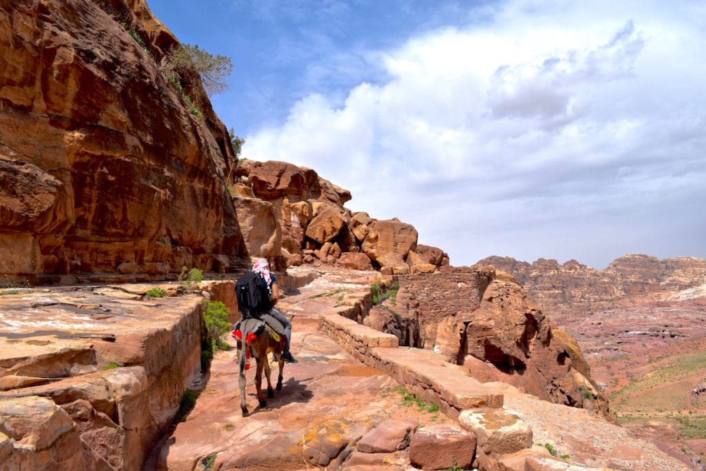 Riding donkeys in Petra, Jordan