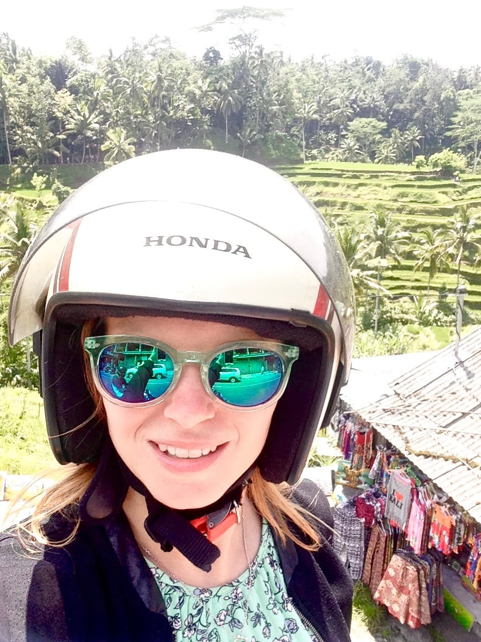 Kitted out to ride a scooter in Ubud, Bali