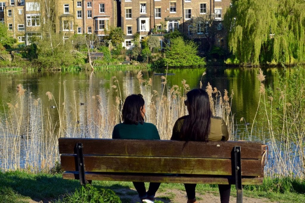 Lovely views across the ponds in Hampstead
