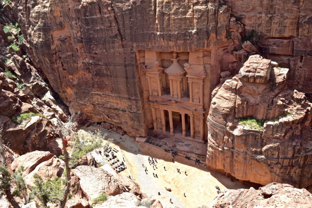 View of The Treasury from the top of the Al-Khubtha Trail in Petra, Jordan