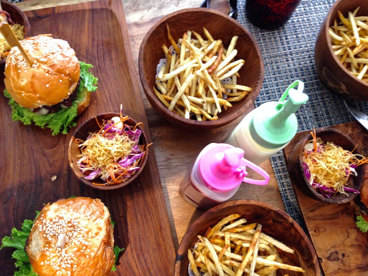 Tasty burger lunch at Burger Shop, Ubud, Bali