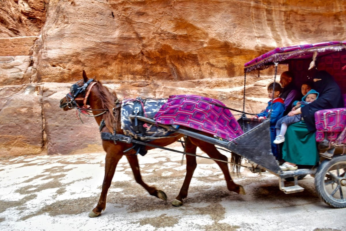 Horse and cart racing through The Siq in Petra, Jordan