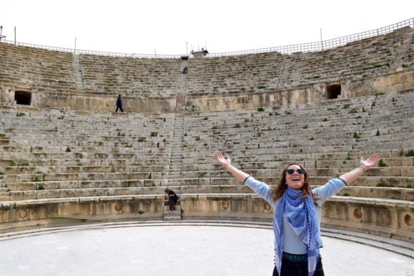 Scarf, jumper and jeans combo at Jerash