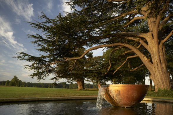 Beautiful water feature by the sequoia tree at The Grove, Hertfordshire