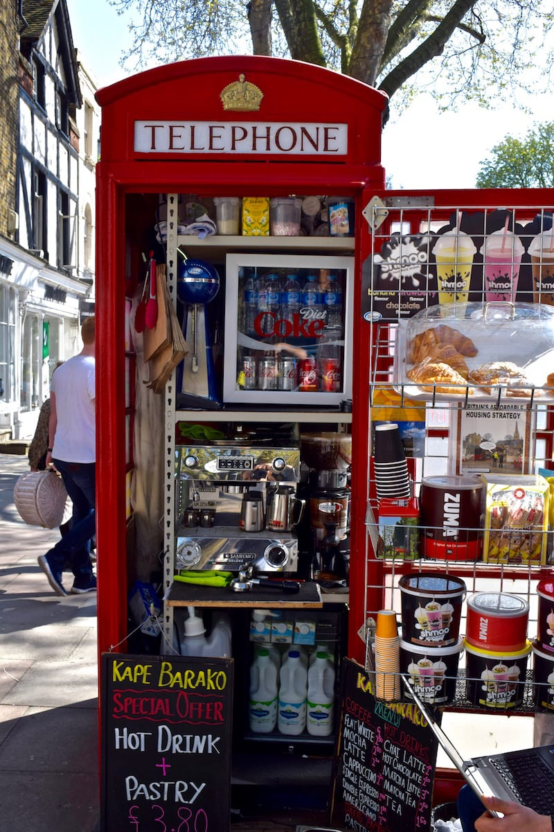 Phone Box Coffee Shop in Hampstead, London