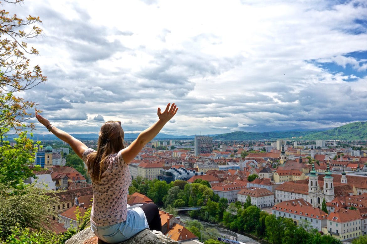 Enjoying the views over Graz, Austria from Schlossberg