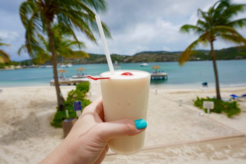 Pina colada in Antigua, Caribbean