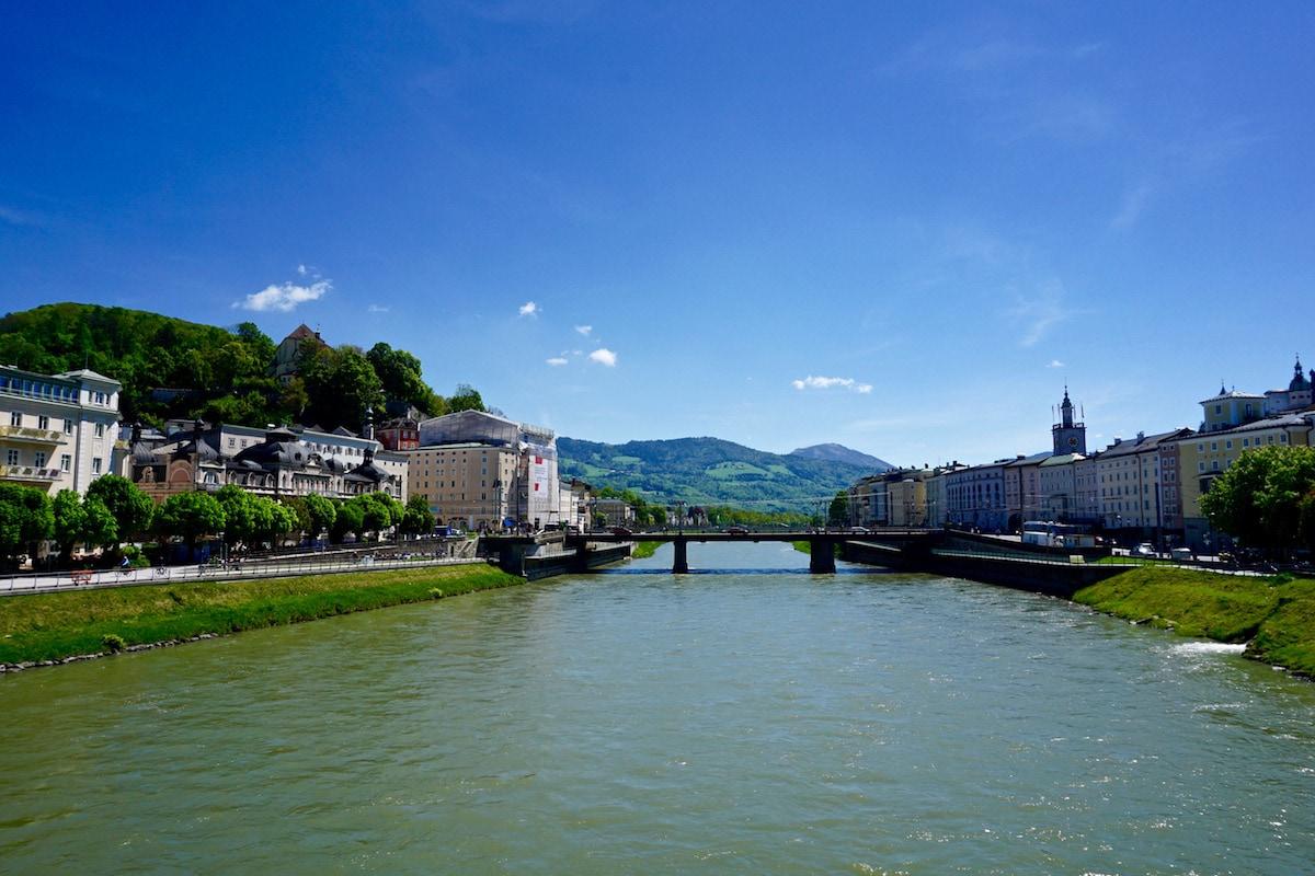 View from the lock bridge - aka Makartsteg Bridge, Salzburg, Austria