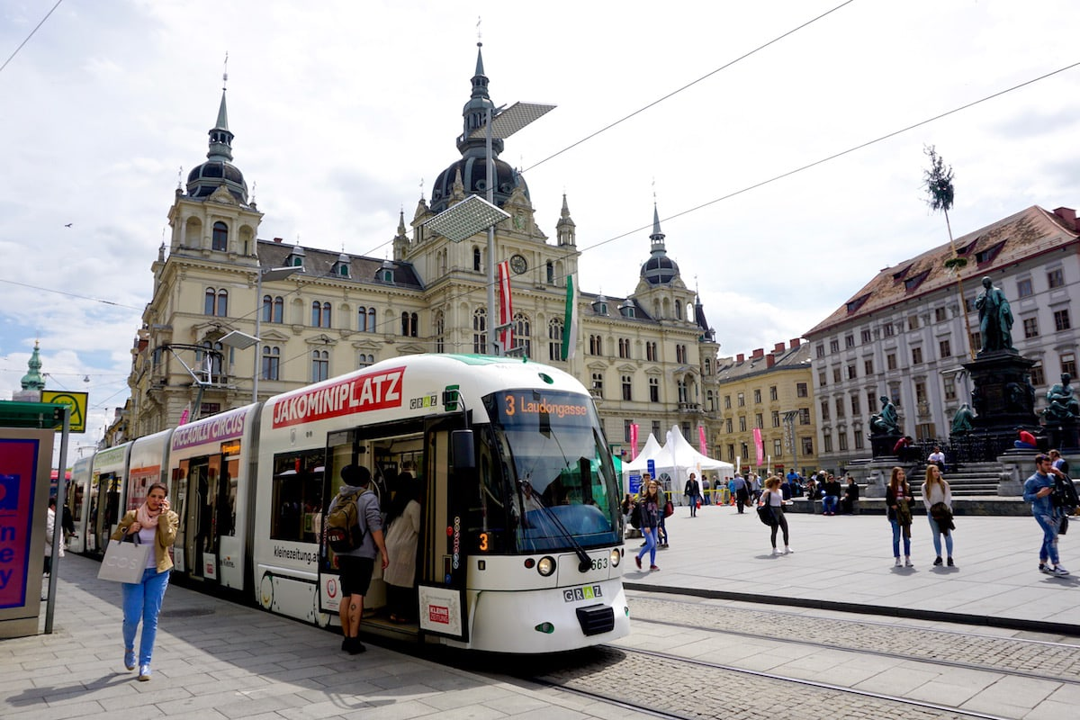 Catching the tram in Graz, Austria