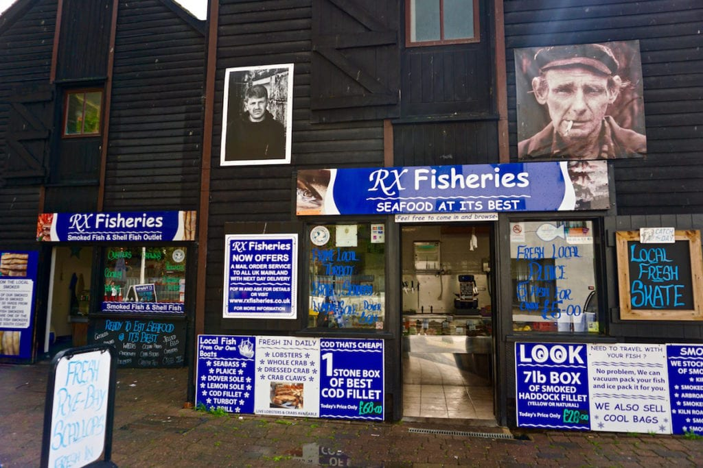 Seafood for sale in the black net huts in Hastings