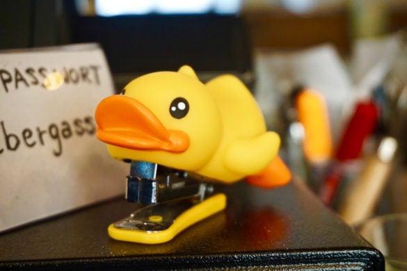Duck stapler at Ducks Coffee Shop in Graz