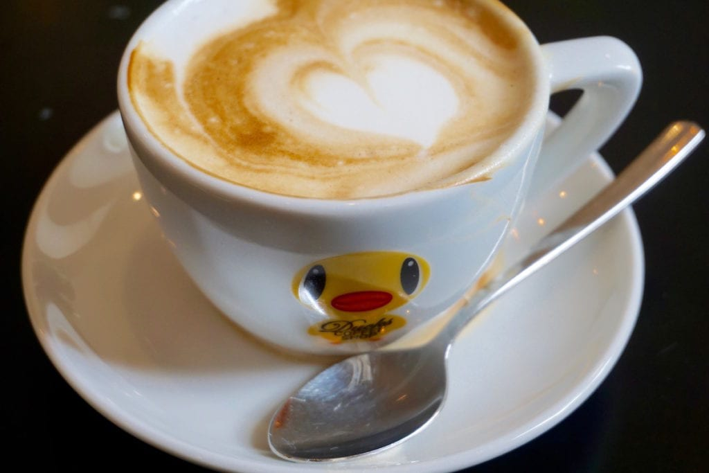 Cappuccino time at Duck stapler at Ducks Coffee Shop in Graz